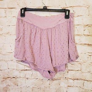 Free People Lavender Billowy Gold Dot Print Shorts